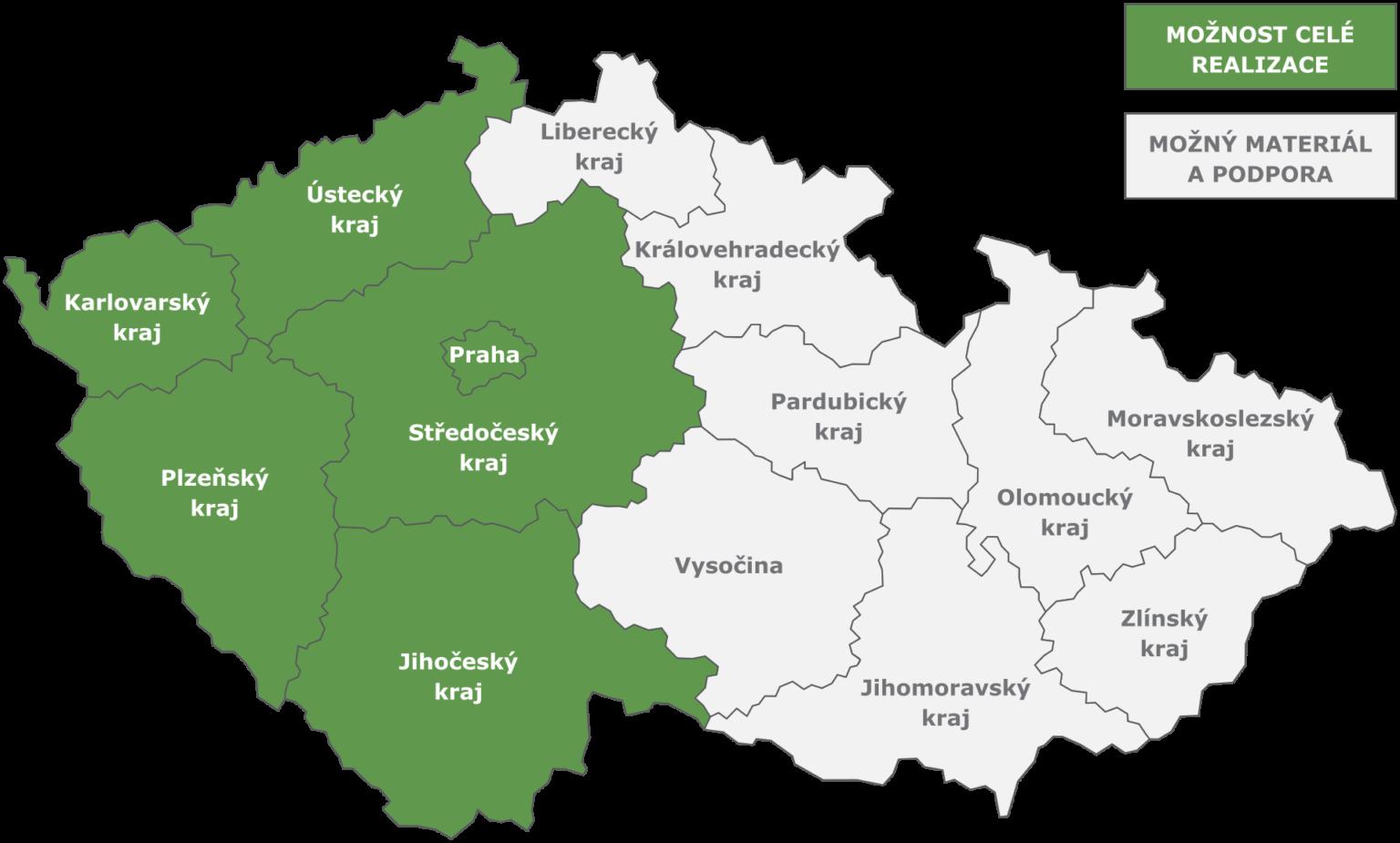 CzechUps - mapa působnosti